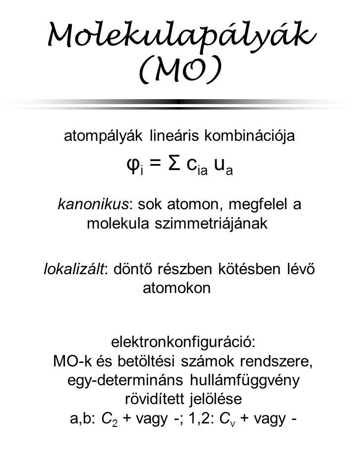 Molekulapályák (MO) atompályák lineáris kombinációja φ i = Σ c ia u a kanonikus: sok atomon, megfelel a molekula szimmetriájának lokalizált: döntő részben kötésben lévő atomokon elektronkonfiguráció: MO-k és betöltési számok rendszere, egy-determináns hullámfüggvény rövidített jelölése a,b: C 2 + vagy -; 1,2: C v + vagy -