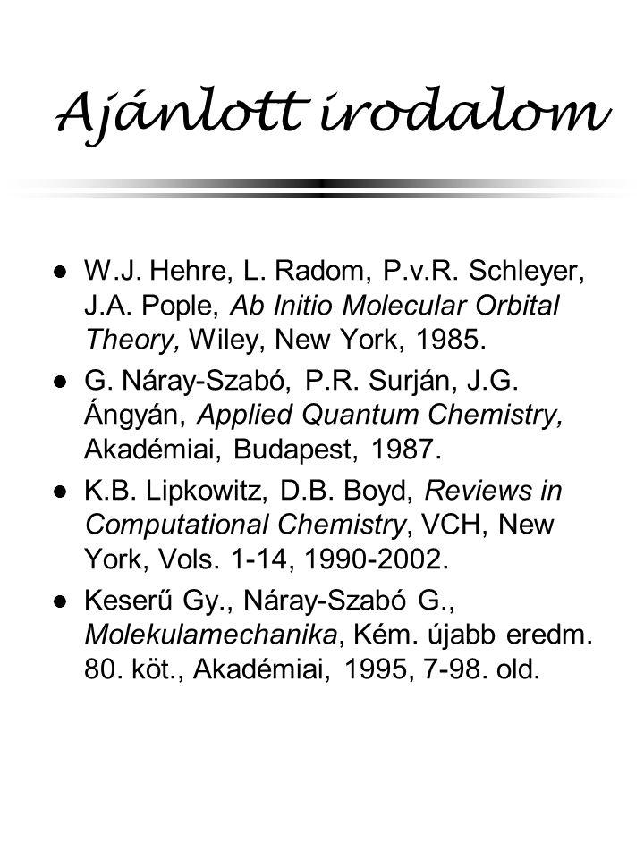 Beágyazásos (QM/MM) módszerek A legtöbb kémiai reakció viszonylag kis térrészre lokalizált Warshel, Náray-Szabó--Surján Q1: nagy bázis, Q2: kis bázis POL: minimális bázis (polarizálható), MM: molekulamechanika határ-régió: lokalizált pályák vagy pszeudoatomok