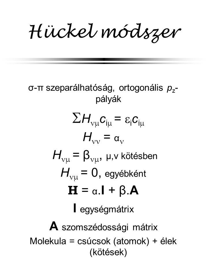 Hückel módszer σ-π szeparálhatóság, ortogonális p z - pályák  H  c i  =  i c i  H = α H  = β , μ,ν kötésben H  = 0, egyébként H = α.I + β.A I egységmátrix A szomszédossági mátrix Molekula = csúcsok (atomok) + élek (kötések)