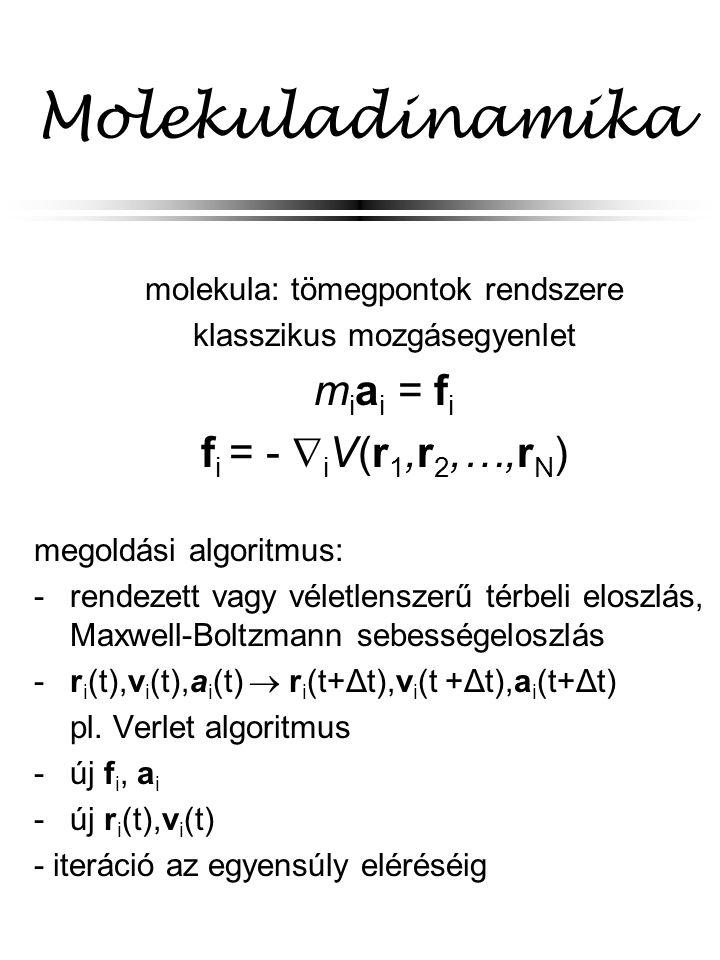Molekuladinamika molekula: tömegpontok rendszere klasszikus mozgásegyenlet m i a i = f i f i = -  i V(r 1,r 2,…,r N ) megoldási algoritmus: - rendezett vagy véletlenszerű térbeli eloszlás, Maxwell-Boltzmann sebességeloszlás - r i (t),v i (t),a i (t)  r i (t+Δt),v i (t +Δt),a i (t+Δt) pl.