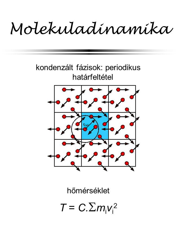 Molekuladinamika kondenzált fázisok: periodikus határfeltétel hőmérséklet T = C.  m i v i 2
