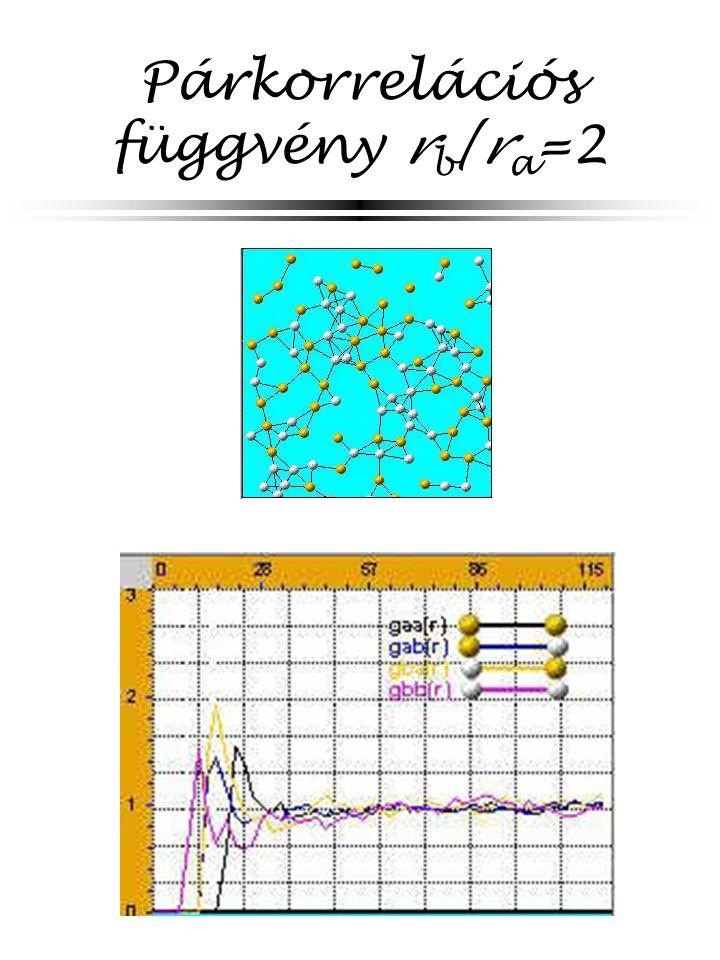 Párkorrelációs függvény r b /r a =2