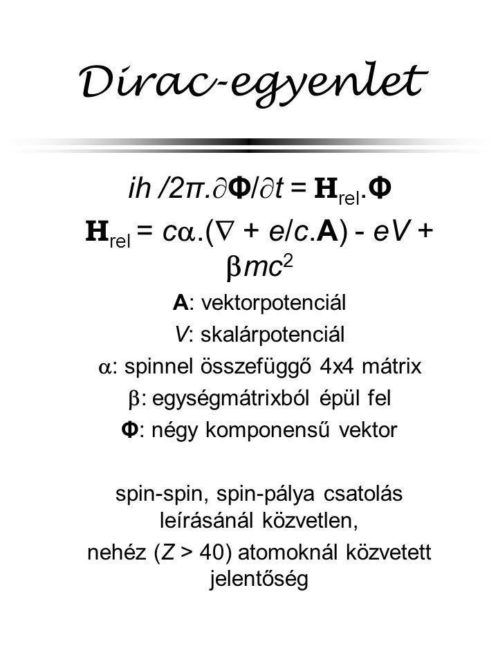 Dirac-egyenlet  ih  /2π.