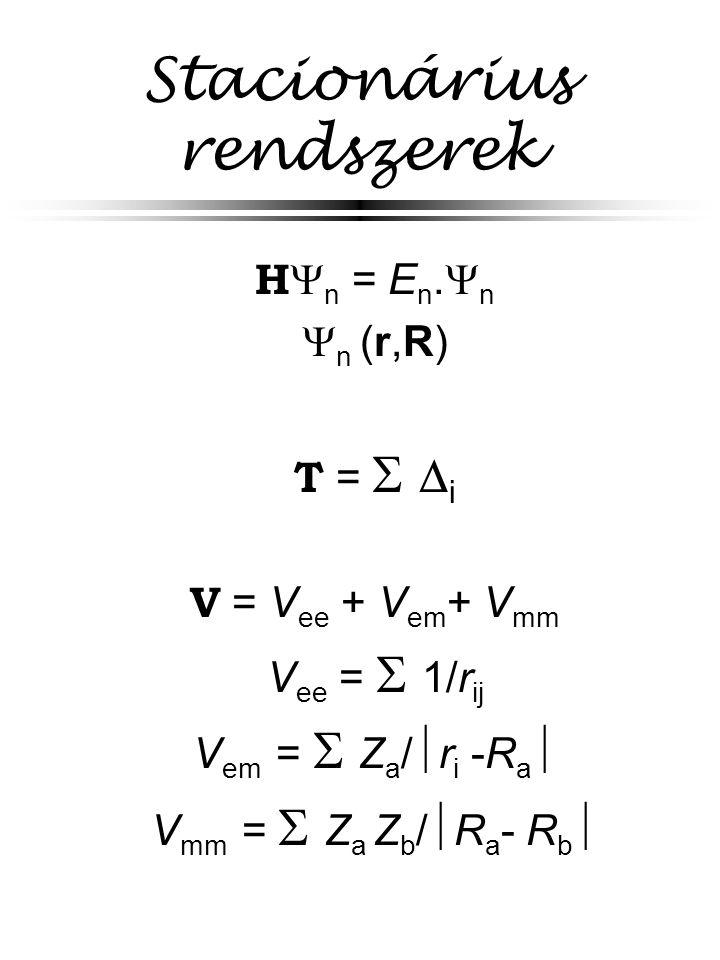 Pszeudopotenciál belső héjak leírása effektív potenciállal (csak a vegyérték-elektronokat vesszük figyelembe) analitikus függvények illeszthetők a numerikus potenciálra nehéz atomokat tartalmazó rendszereknél fontos az alkalmazása