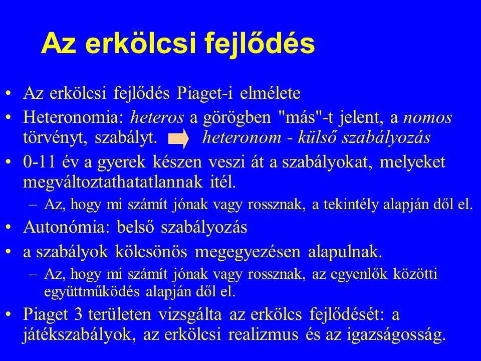 Az erkölcsi fejlődés Az erkölcsi fejlődés Piaget-i elmélete Heteronomia: heteros a görögben más -t jelent, a nomos törvényt, szabályt.
