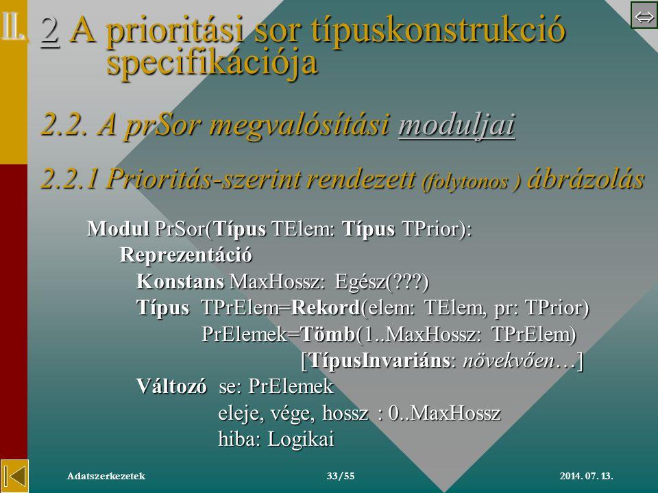  2014. 07. 13.Adatszerkezetek33/55 22 A prioritási sor típuskonstrukció specifikációja 2.2.