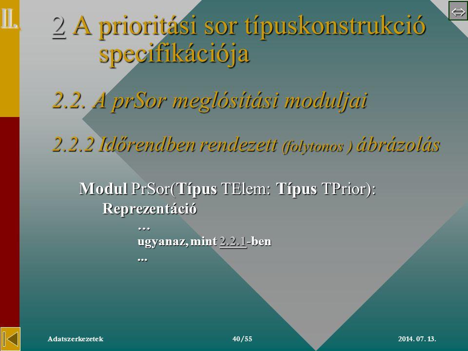  2014. 07. 13.Adatszerkezetek40/55 22 A prioritási sor típuskonstrukció specifikációja 2.2.