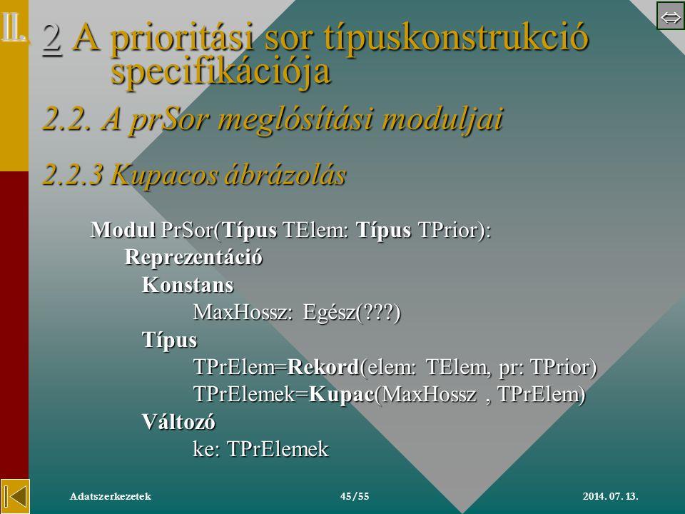  2014. 07. 13.Adatszerkezetek45/55 22 A prioritási sor típuskonstrukció specifikációja 2.2.