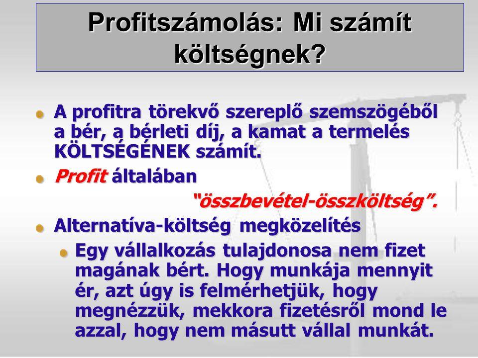 """A profitra törekvő szereplő szemszögéből a bér, a bérleti díj, a kamat a termelés KÖLTSÉGÉNEK számít. Profit általában """"összbevétel-összköltség"""". """"öss"""