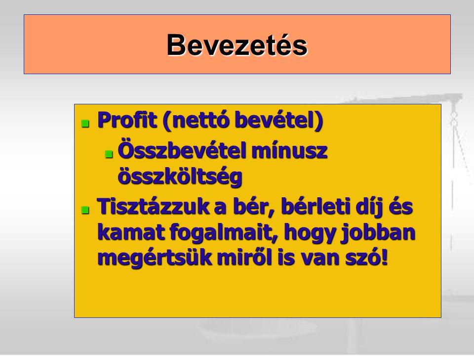 Bevezetés Profit (nettó bevétel) Összbevétel mínusz összköltség Tisztázzuk a bér, bérleti díj és kamat fogalmait, hogy jobban megértsük miről is van s