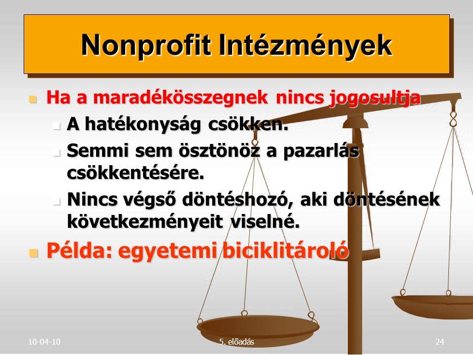10-04-105. előadás24 Ha a maradékösszegnek nincs jogosultja Ha a maradékösszegnek nincs jogosultja A hatékonyság csökken. A hatékonyság csökken. Semmi