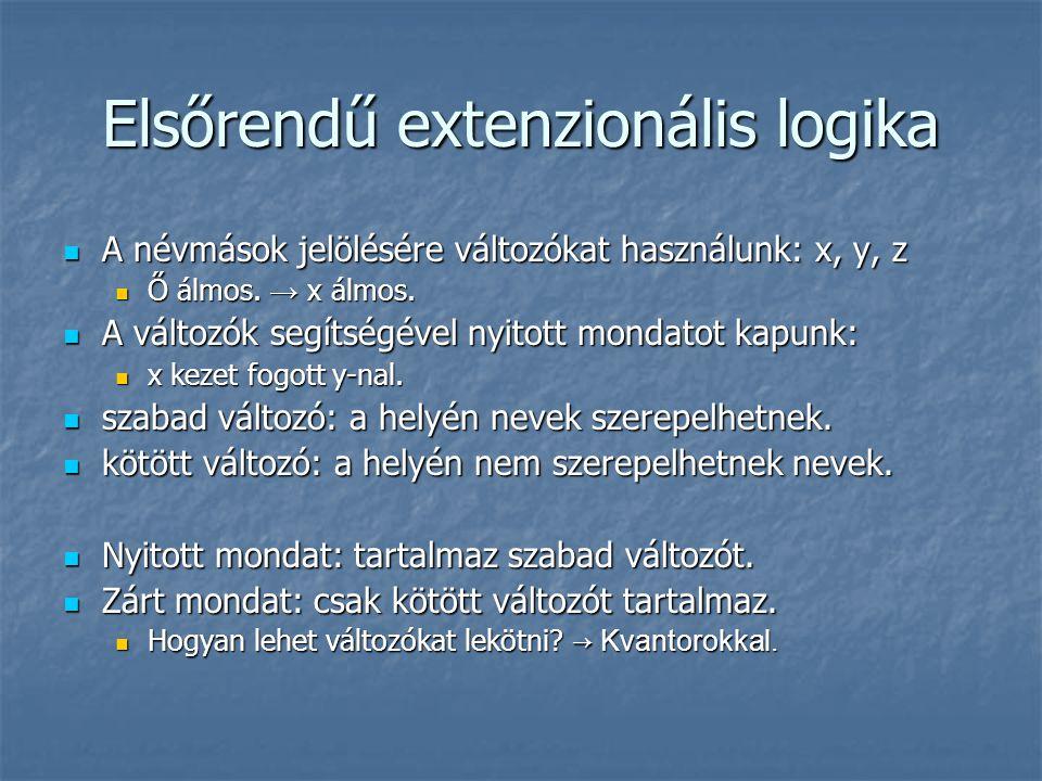 Elsőrendű extenzionális logika A névmások jelölésére változókat használunk: x, y, z A névmások jelölésére változókat használunk: x, y, z Ő álmos.