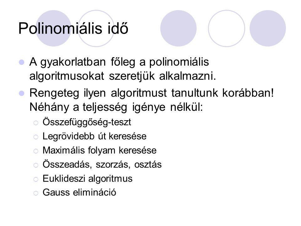 Polinomiális idő A gyakorlatban főleg a polinomiális algoritmusokat szeretjük alkalmazni. Rengeteg ilyen algoritmust tanultunk korábban! Néhány a telj