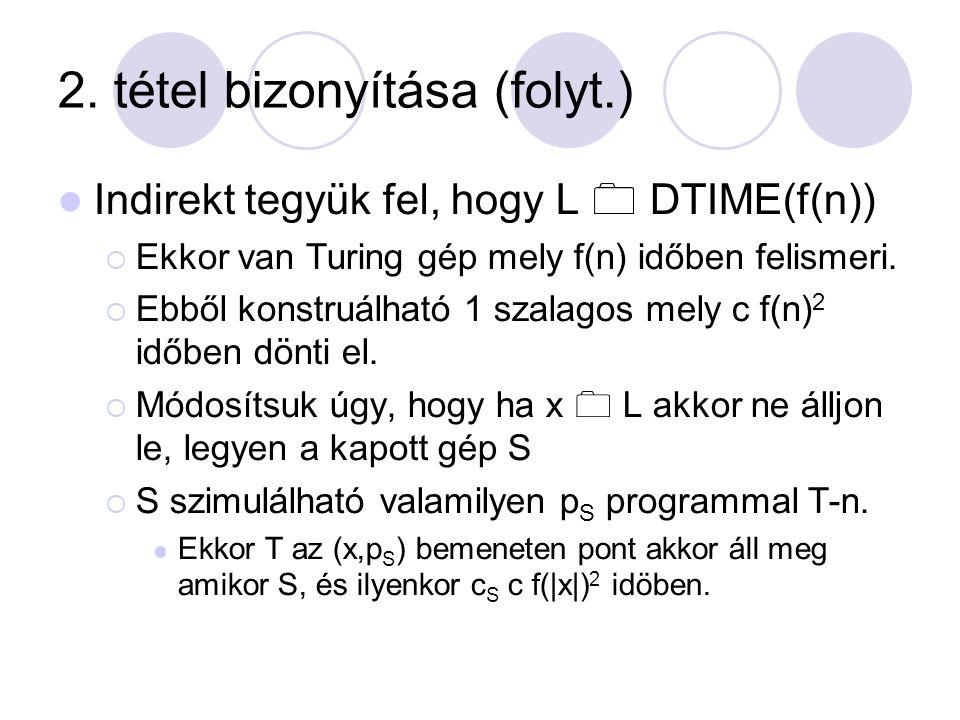 2. tétel bizonyítása (folyt.) Indirekt tegyük fel, hogy L  DTIME(f(n))  Ekkor van Turing gép mely f(n) időben felismeri.  Ebből konstruálható 1 s