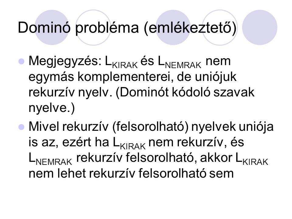 Dominó probléma (emlékeztető) Megjegyzés: L KIRAK és L NEMRAK nem egymás komplementerei, de uniójuk rekurzív nyelv. (Dominót kódoló szavak nyelve.) M