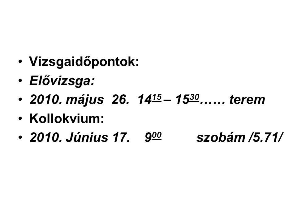 Vizsgaidőpontok: Elővizsga: 2010. május 26.14 15 – 15 30 …… terem Kollokvium: 2010. Június 17. 9 00 szobám /5.71/