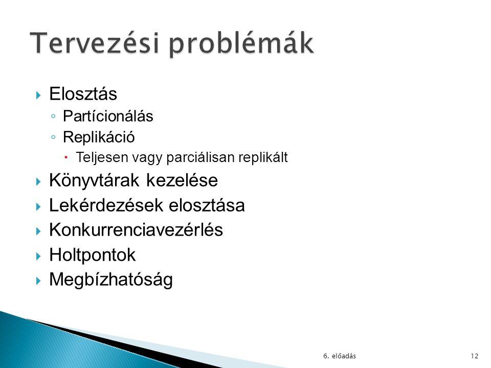  Elosztás ◦ Partícionálás ◦ Replikáció  Teljesen vagy parciálisan replikált  Könyvtárak kezelése  Lekérdezések elosztása  Konkurrenciavezérlés  Holtpontok  Megbízhatóság 6.