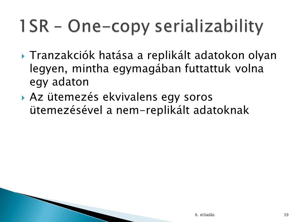 6. előadás39  Tranzakciók hatása a replikált adatokon olyan legyen, mintha egymagában futtattuk volna egy adaton  Az ütemezés ekvivalens egy soros ü