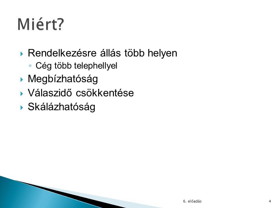  Rendelkezésre állás több helyen ◦ Cég több telephellyel  Megbízhatóság  Válaszidő csökkentése  Skálázhatóság 6. előadás4