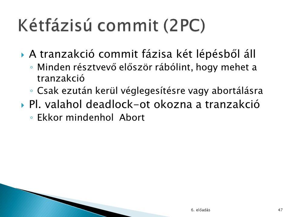  A tranzakció commit fázisa két lépésből áll ◦ Minden résztvevő először rábólint, hogy mehet a tranzakció ◦ Csak ezután kerül véglegesítésre vagy abortálásra  Pl.