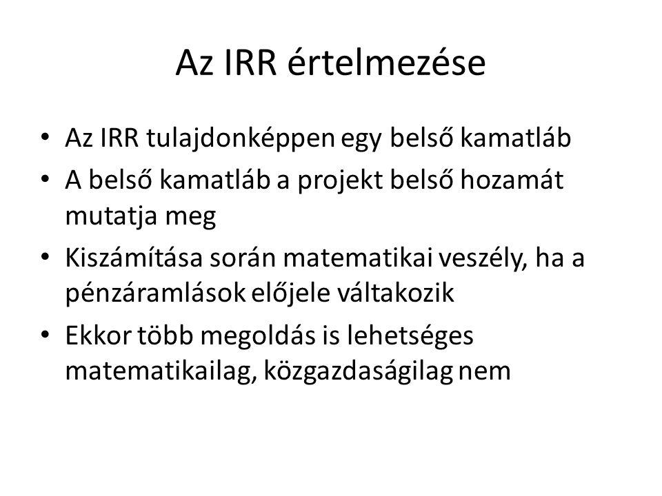 Az IRR értelmezése Az IRR tulajdonképpen egy belső kamatláb A belső kamatláb a projekt belső hozamát mutatja meg Kiszámítása során matematikai veszély, ha a pénzáramlások előjele váltakozik Ekkor több megoldás is lehetséges matematikailag, közgazdaságilag nem