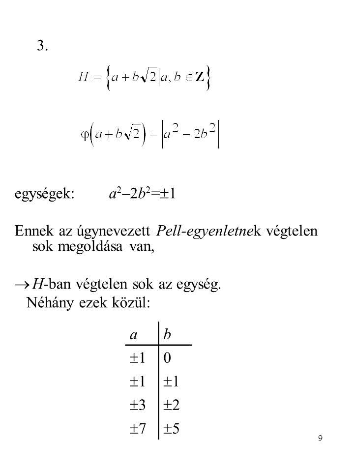 9 egységek: a 2 –2b 2 =  1 Ennek az úgynevezett Pell-egyenletnek végtelen sok megoldása van,  H-ban végtelen sok az egység. Néhány ezek közül: 3. ab