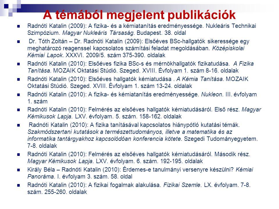A témából megjelent publikációk Radnóti Katalin (2009): A fizika- és a kémiatanítás eredményessége. Nukleáris Technikai Szimpózium. Magyar Nukleáris T
