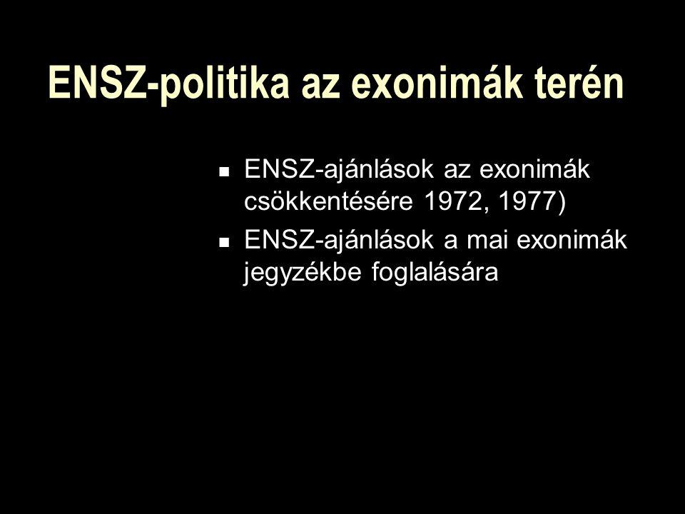 ENSZ-politika az exonimák terén ENSZ-ajánlások az exonimák csökkentésére 1972, 1977) ENSZ-ajánlások a mai exonimák jegyzékbe foglalására