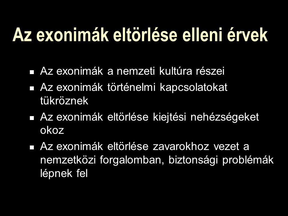 Az exonimák eltörlése elleni érvek Az exonimák a nemzeti kultúra részei Az exonimák történelmi kapcsolatokat tükröznek Az exonimák eltörlése kiejtési nehézségeket okoz Az exonimák eltörlése zavarokhoz vezet a nemzetközi forgalomban, biztonsági problémák lépnek fel