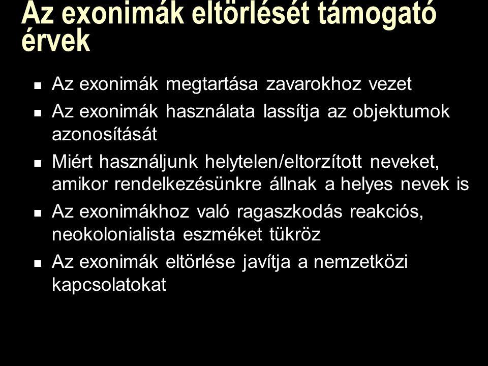 Az exonimák eltörlését támogató érvek Az exonimák megtartása zavarokhoz vezet Az exonimák használata lassítja az objektumok azonosítását Miért használjunk helytelen/eltorzított neveket, amikor rendelkezésünkre állnak a helyes nevek is Az exonimákhoz való ragaszkodás reakciós, neokolonialista eszméket tükröz Az exonimák eltörlése javítja a nemzetközi kapcsolatokat