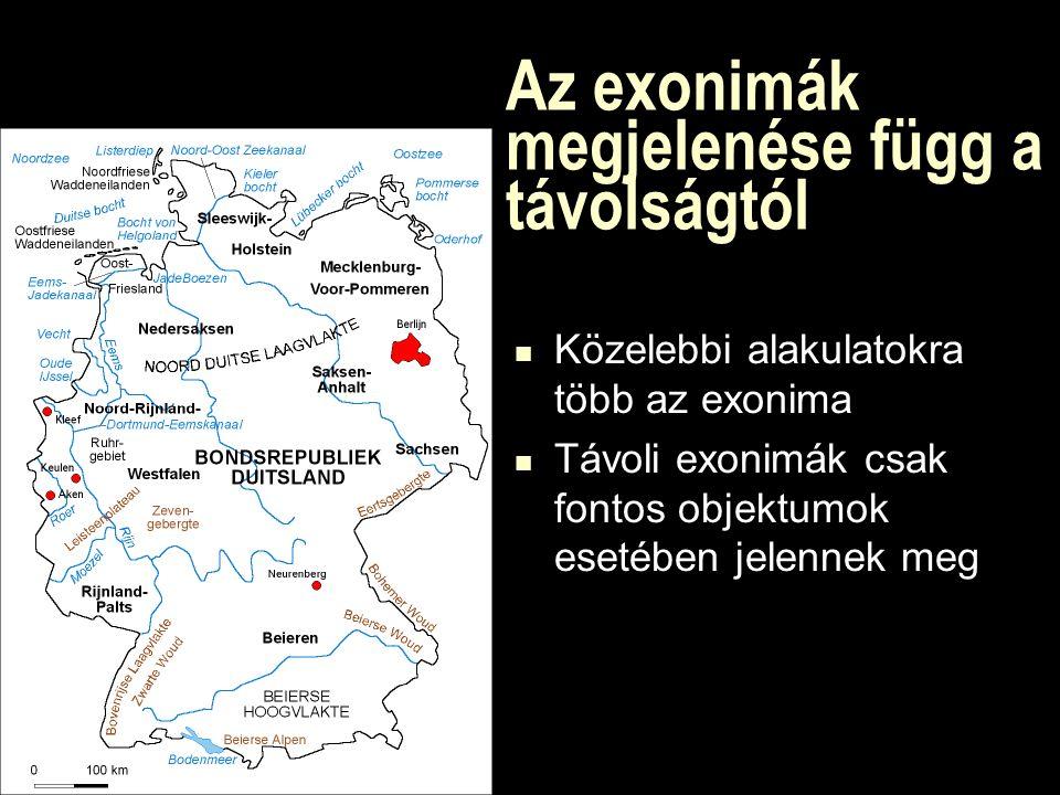 Az exonimák megjelenése függ a távolságtól Közelebbi alakulatokra több az exonima Távoli exonimák csak fontos objektumok esetében jelennek meg