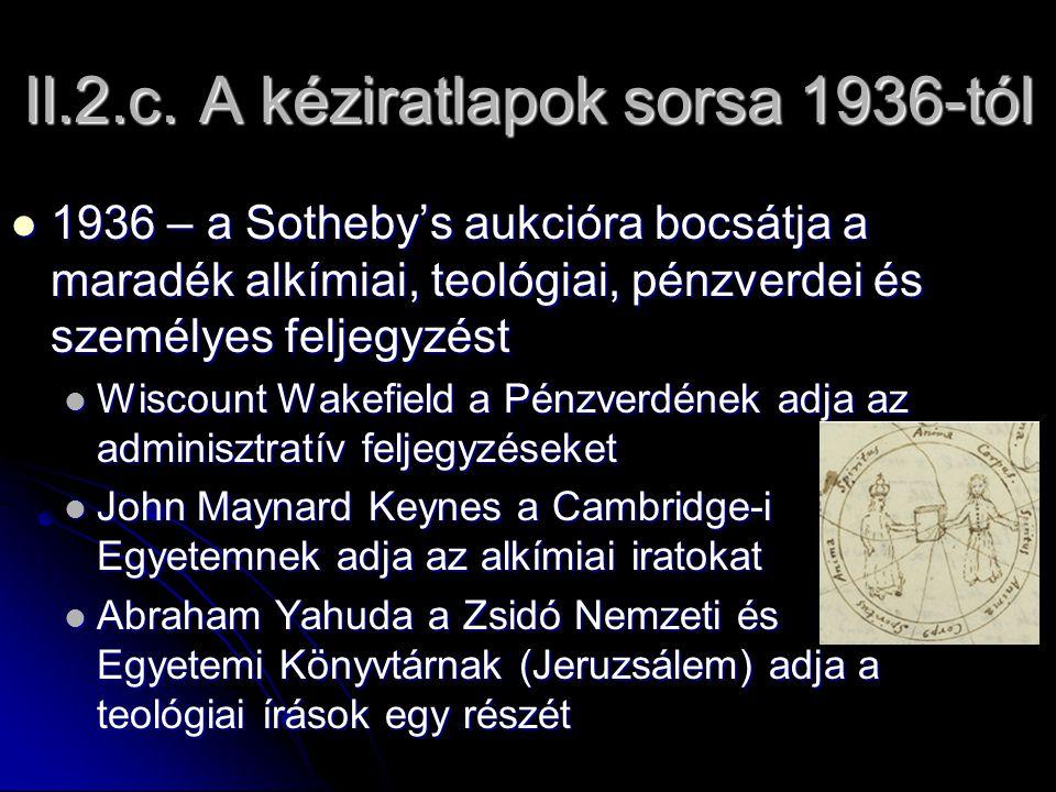 II.2.c. A kéziratlapok sorsa 1936-tól 1936 – a Sotheby's aukcióra bocsátja a maradék alkímiai, teológiai, pénzverdei és személyes feljegyzést 1936 – a