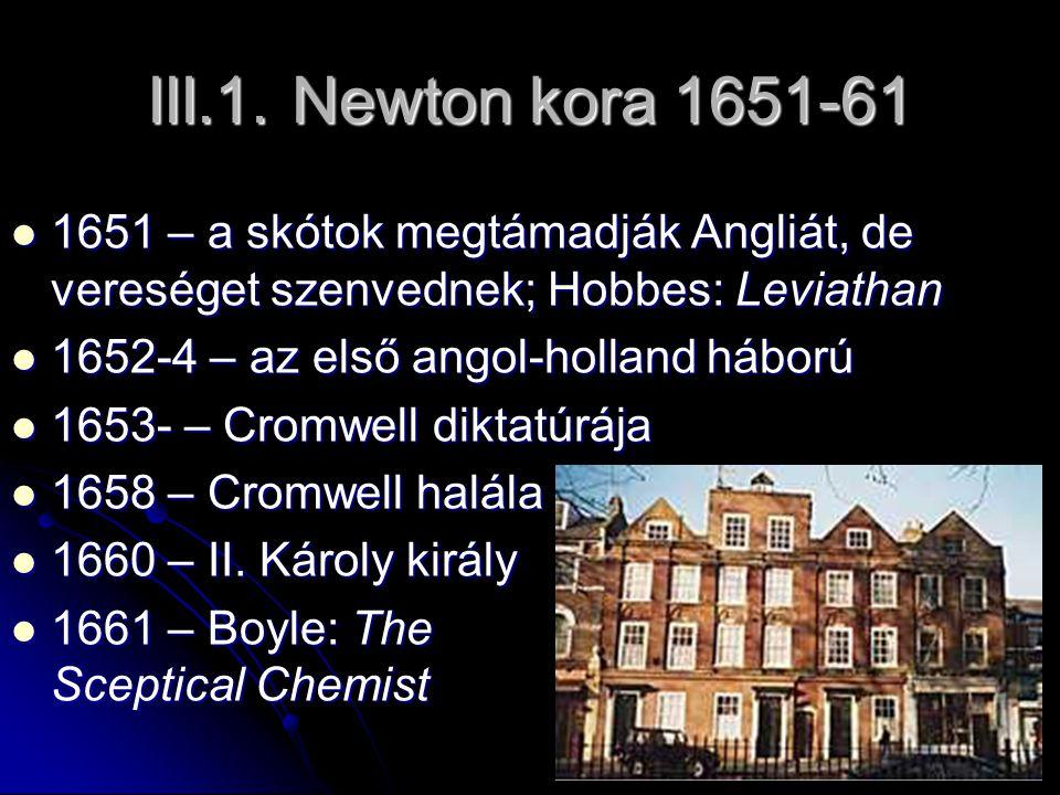 III.1. Newton kora 1651-61 1651 – a skótok megtámadják Angliát, de vereséget szenvednek; Hobbes: Leviathan 1651 – a skótok megtámadják Angliát, de ver