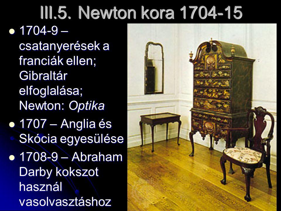 III.5. Newton kora 1704-15 1704-9 – csatanyerések a franciák ellen; Gibraltár elfoglalása; Newton: Optika 1704-9 – csatanyerések a franciák ellen; Gib