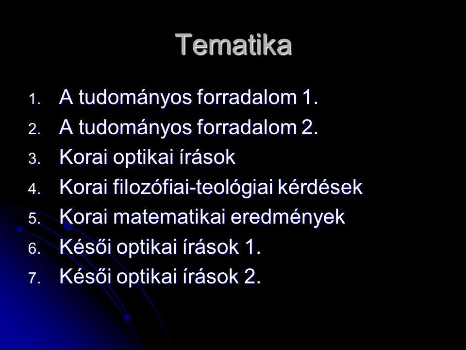 Tematika 1. A tudományos forradalom 1. 2. A tudományos forradalom 2. 3. Korai optikai írások 4. Korai filozófiai-teológiai kérdések 5. Korai matematik