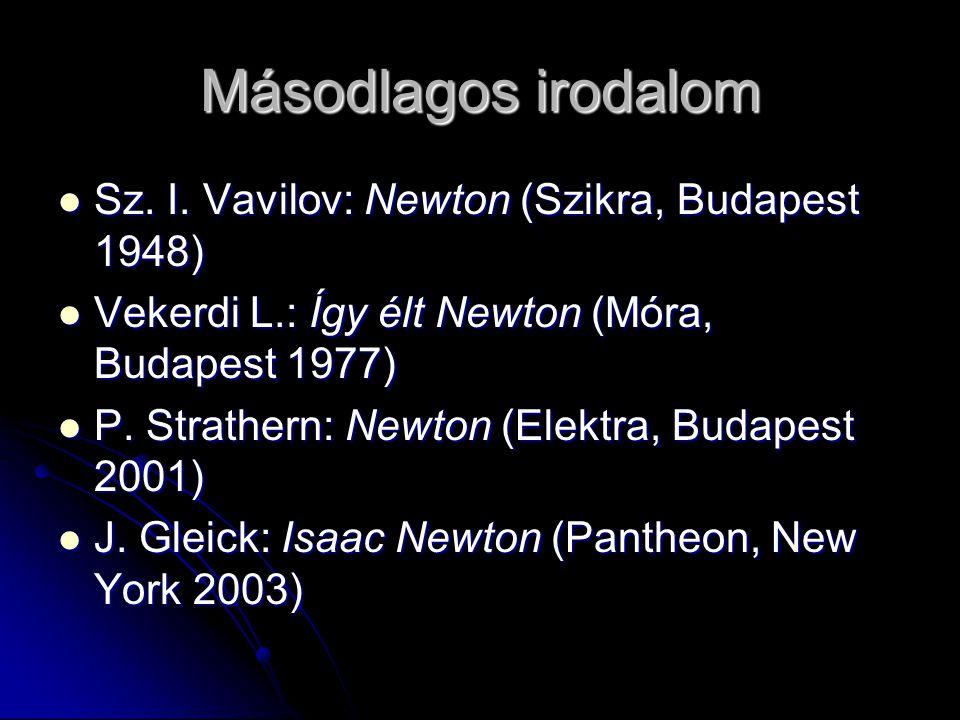 Másodlagos irodalom Sz. I. Vavilov: Newton (Szikra, Budapest 1948) Sz. I. Vavilov: Newton (Szikra, Budapest 1948) Vekerdi L.: Így élt Newton (Móra, Bu
