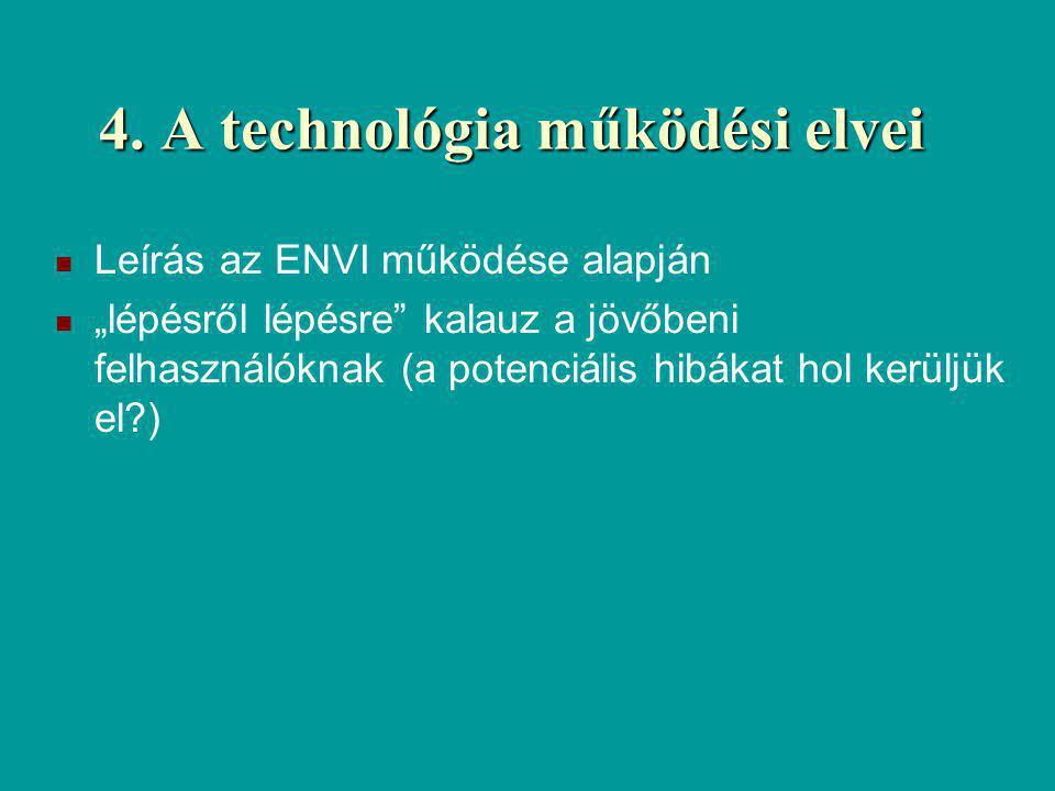 """4. A technológia működési elvei Leírás az ENVI működése alapján """"lépésről lépésre"""" kalauz a jövőbeni felhasználóknak (a potenciális hibákat hol kerülj"""