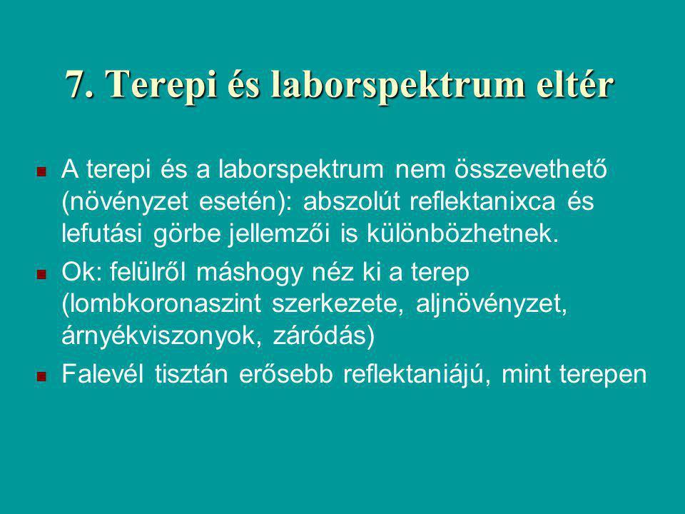 7. Terepi és laborspektrum eltér A terepi és a laborspektrum nem összevethető (növényzet esetén): abszolút reflektanixca és lefutási görbe jellemzői i
