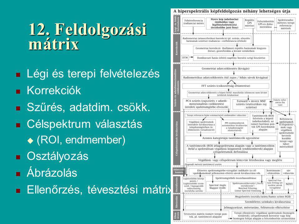 12. Feldolgozási mátrix Légi és terepi felvételezés Korrekciók Szűrés, adatdim. csökk. Célspektrum választás  (ROI, endmember) Osztályozás Ábrázolás