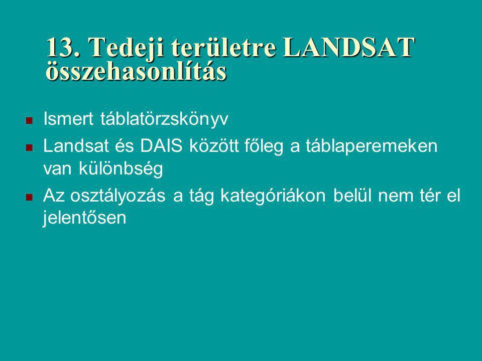 13. Tedeji területre LANDSAT összehasonlítás Ismert táblatörzskönyv Landsat és DAIS között főleg a táblaperemeken van különbség Az osztályozás a tág k