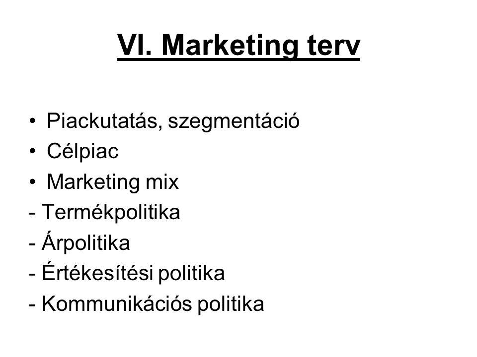 VI. Marketing terv Piackutatás, szegmentáció Célpiac Marketing mix - Termékpolitika - Árpolitika - Értékesítési politika - Kommunikációs politika