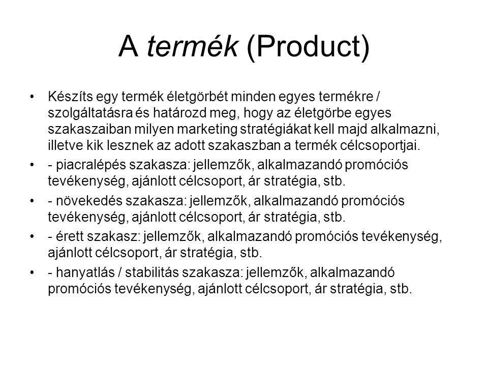 A termék (Product) Készíts egy termék életgörbét minden egyes termékre / szolgáltatásra és határozd meg, hogy az életgörbe egyes szakaszaiban milyen m