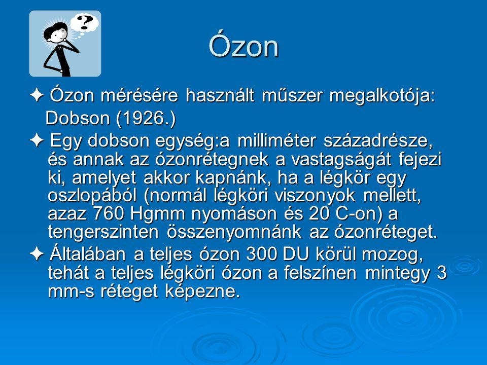 Ózon ✦ Az ózon felfedezője: Schönbein 1840. Schönbein 1840. Talaj közeli levegőben a keményítővel és káliumjodiddal impregnált papírcsík ózon jelenlét