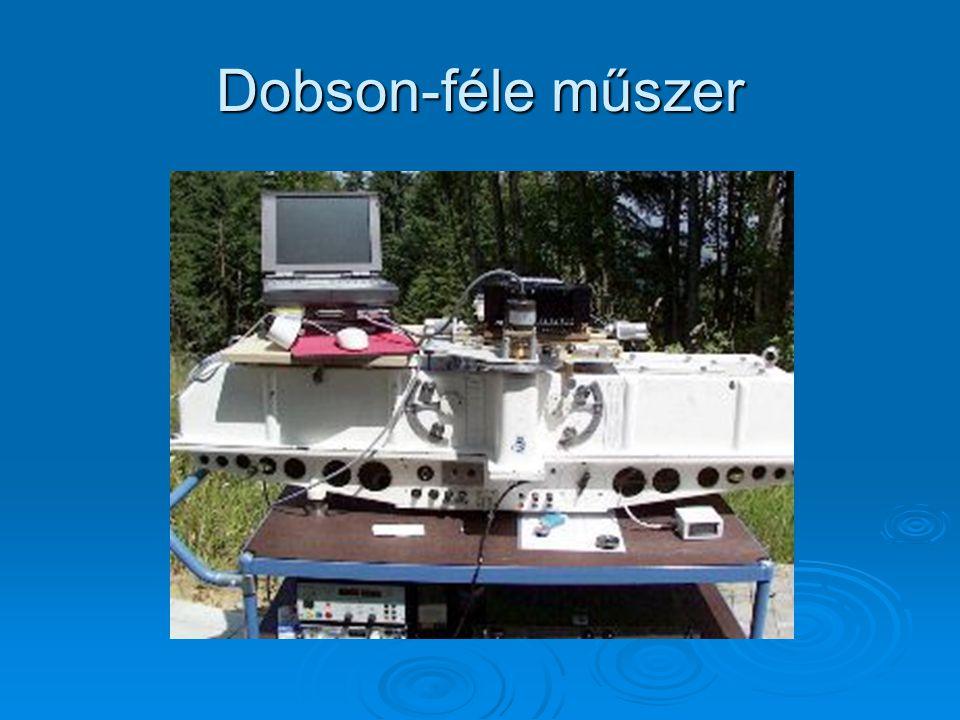 Ózon ✦ Ózon mérésére használt műszer megalkotója: Dobson (1926.) Dobson (1926.) ✦ Egy dobson egység:a milliméter századrésze, és annak az ózonrétegnek
