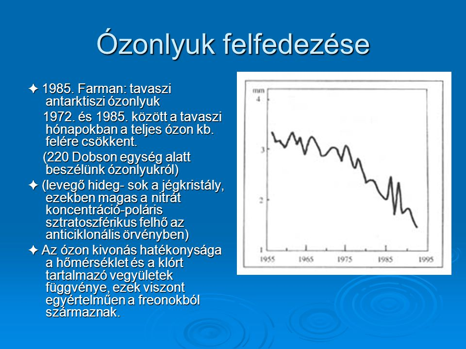 Ózon kivonódás ✦ Crutzen (1970): nitrogén vegyületeket teszi felelőssé nitrogén vegyületeket teszi felelőssé ✦ Molina és Rowland(1974): Freonok sztrat