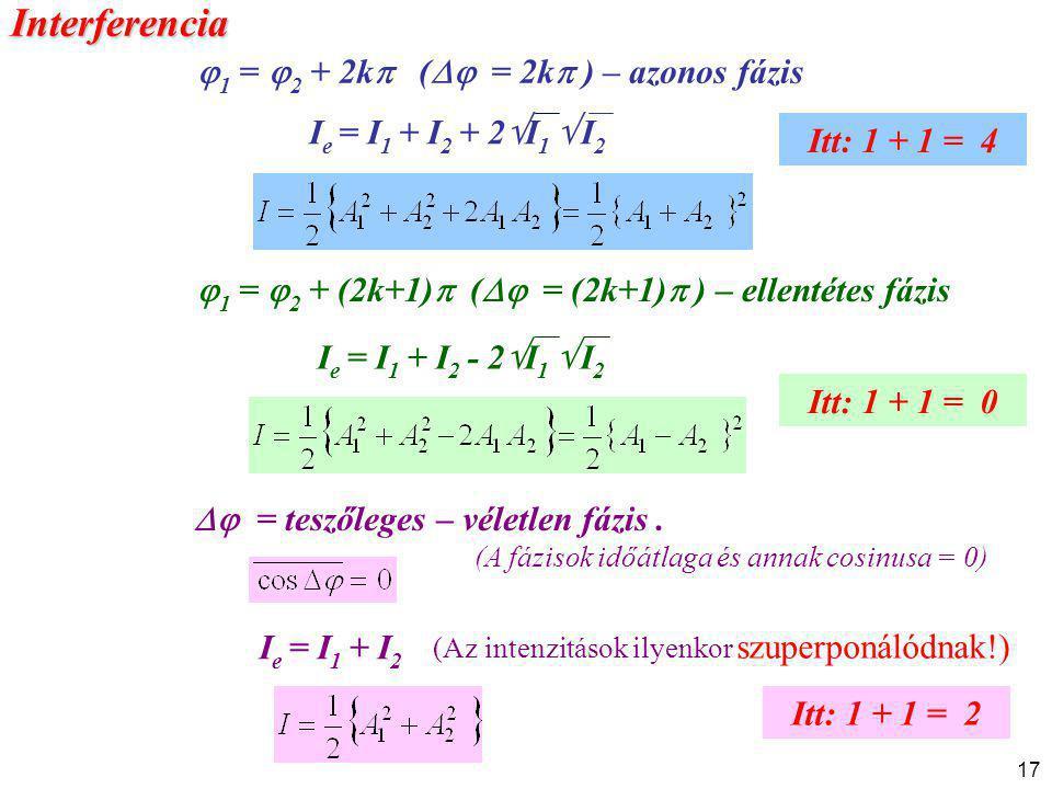 17  1 =  2 + (2k+1)  (  = (2k+1)  ) – ellentétes fázis  = teszőleges – véletlen fázis. (A fázisok időátlaga és annak cosinusa = 0) I e = I 1 +