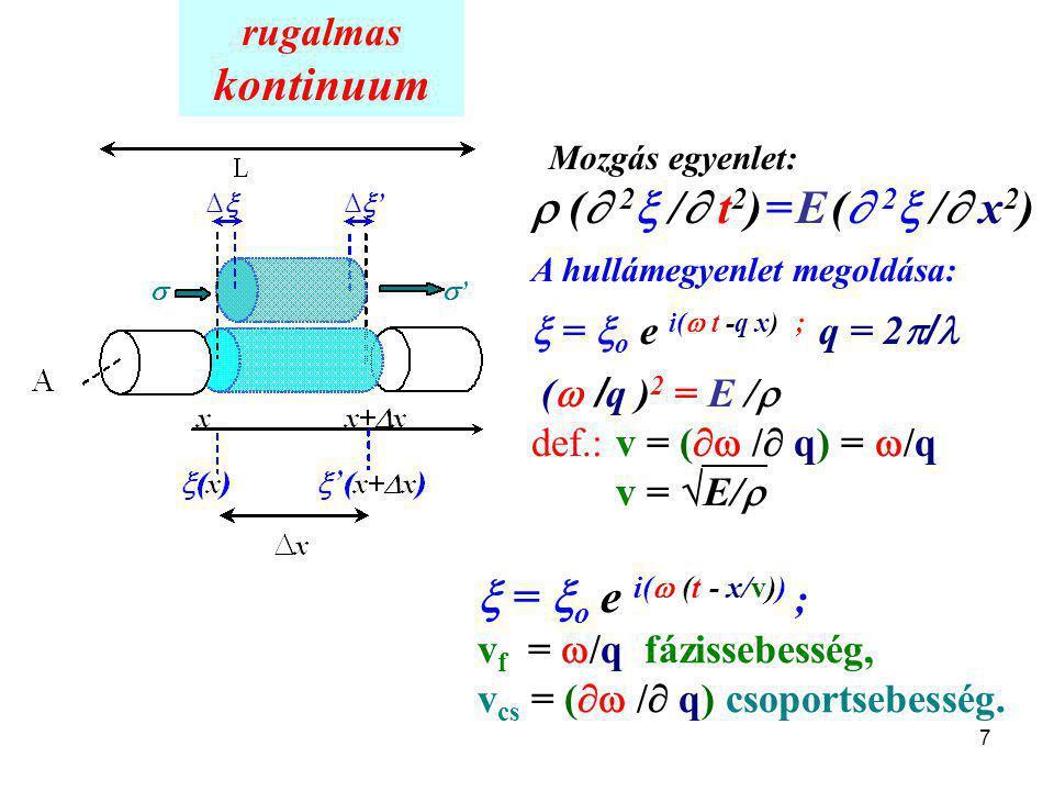 7 Mozgás egyenlet:  (  2  /  t 2 ) = E (  2  /  x 2 ) A hullámegyenlet megoldása:  =  o e i(  t -q x); q = 2  / (  / q ) 2 = E /  def.: v