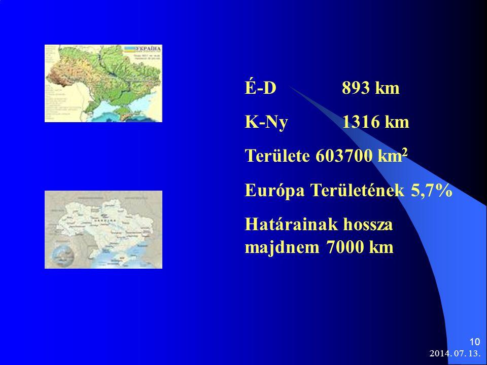 2014. 07. 13. 10 É-D 893 km K-Ny 1316 km Területe 603700 km 2 Európa Területének 5,7% Határainak hossza majdnem 7000 km