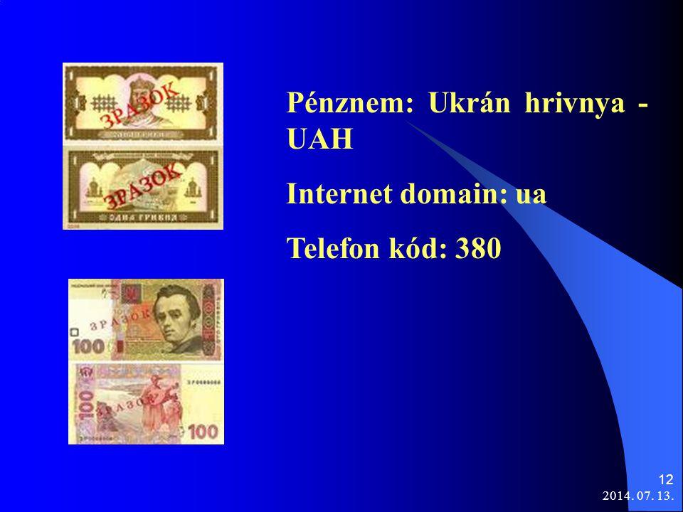 2014. 07. 13. 12 Pénznem: Ukrán hrivnya - UAH Internet domain: ua Telefon kód: 380