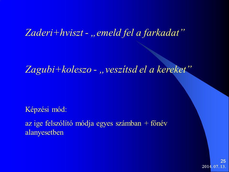"""2014. 07. 13. 25 Zaderi+hviszt - """"emeld fel a farkadat"""" Zagubi+koleszo - """"veszítsd el a kereket"""" Képzési mód: az ige felszólító módja egyes számban +"""